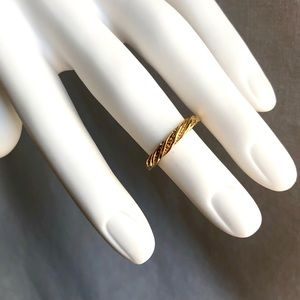 Retro BoHo Gold Twist Detailed Cocktail Midi Ring